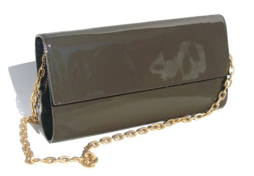 AMC Imports Gray Patent Leather Clutch Purse