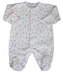 Kissy Kissy Baby Girls Garden Roses Print Footie- 0-3 Months