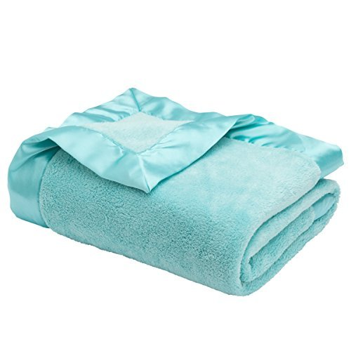 "Elegant Baby Ultra Plush Satin Border Blanket, Aqua, 36"" x 45"""