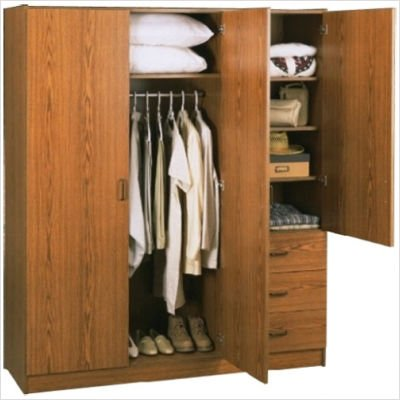 SystemBuild Collection 3 Door Wardrobe Cabinet With Drawers