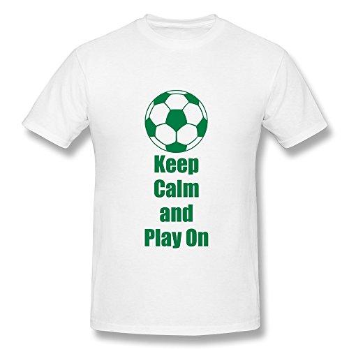 Customize 100% Cotton Cool Keep Calm Play Soccer Men'S T Shirts