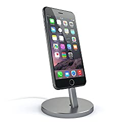 Satechi Aluminum Desktop Charging Stand for iPhone 5 / 5S / 5C / 6 / 6s / 6 Plus / 6s Plus / iPod touch 5G / iPod nano 7G (Space Gray)