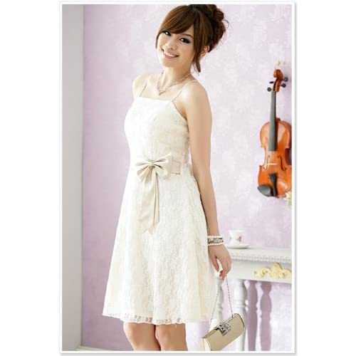 総レース花柄パーティドレス ひざ丈 (ホワイト、ブラック、ワイン色)各3サイズあり (フリーサイズ, ホワイト)