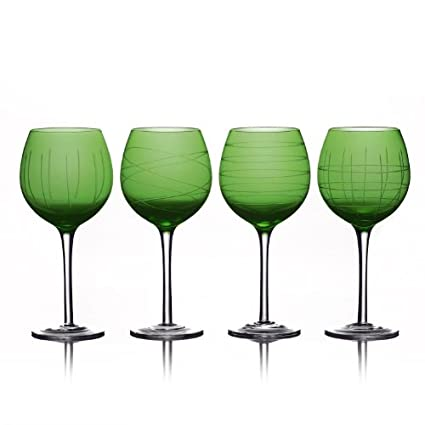 Green Medallion 4-Piece Goblet Set by Fifth Avenue