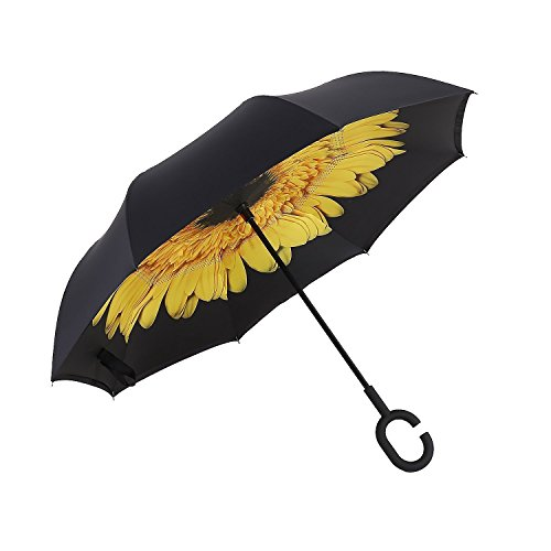 Aweoods Inverted Umbrella Cars Reversible Umbrella (Yellow Purpurea) (Electric Umbrella compare prices)