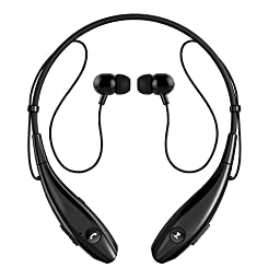 SoundPEATS Bluetooth Headphones Stereo Neckband Wireless Headset Sport Earbuds with Mic for iPhone 7 iPhone 7 Plus (10 Hours Play Time, Bluetooth 4.1, CVC 6.0 Noise Cancelling) - Black