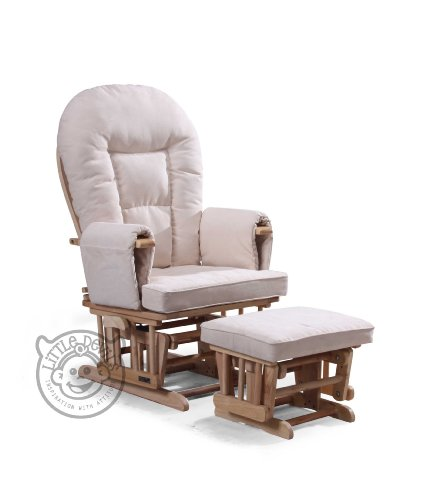 CREAM SUPREMO BAMBINO Nursing Glider/Gliding Rocking Maternity Chair with Free Footstool and Protective Cover