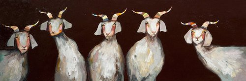 5 Goats on Chocolate Brown by Eli Halpin