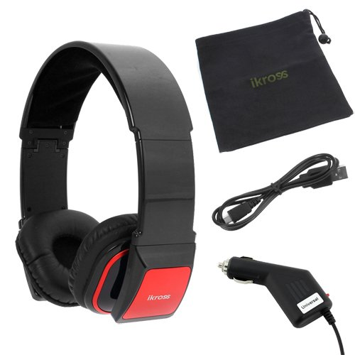 iKross Bluetooth Stereo Headphone Headset with Black Microfiber Carrying Case + Car Charger for BlackBerry A10 / Z30, Q5, Q10, Z10 and more iKross Bluetooth Headsets autotags B00DMSE4ZO