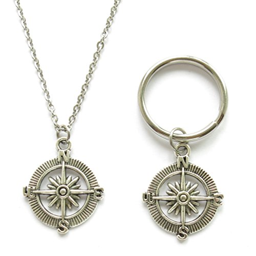 Compass Necklace and Compass Keychain Set 18 Inch Stainless Steel Chain Necklace