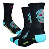 DeFeet AirEator HiTop Sugar Skull Cycling/Running Socks - AIRTSSB