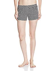Rattrap Women's Cotton Shorts (COREBOXBLK_Black White Chec_X-Large)