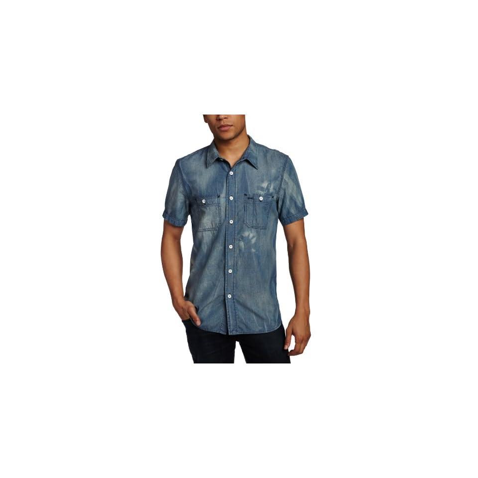 Hudson Jeans Mens Short Sleeve Light Weight Shirt, Kruiser Washed Blue, Small