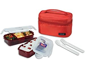 microwavable lock lock bento lunch box set dishwasher safe red chopstick. Black Bedroom Furniture Sets. Home Design Ideas