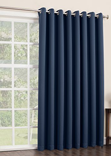 Sun Zero Easton Extra Wide Blackout Patio Curtain Panel 100 By 84 Inch Solid Navy Curtain Store