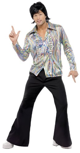 Smiffy's Men's 70S Retro Costume with Psychedelic Pattern Shirt and Flares
