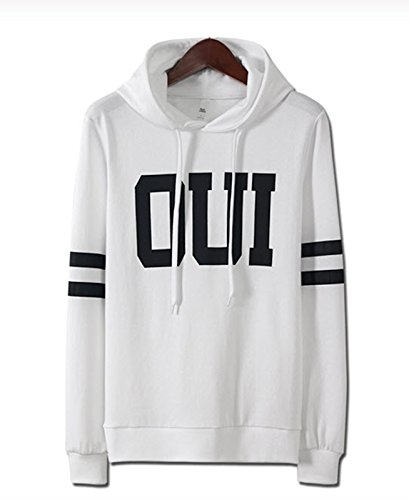 Mens Premium OUI Printing Hooded Hoodie Sweater Jumper Pullover (Small, White)
