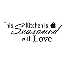 This kitchen is seasoned with love Vinyl Wall Quotes Stickers Sayings Home Art Decor Decal (22\