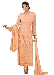 New Peach Nazneen Chiffon Designer Dress Material