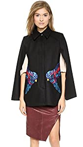 Marchesa Voyage Women's Embroidered Cape, Black, 2