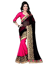 Pragati fashion Hub Black Faux Georgette Saree