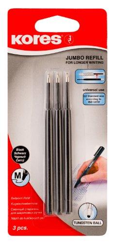 Kores jumbo mines de stylo-bille 0,7 mm - 20 x 3-noir