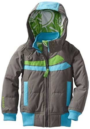 CROCS Little Boys' Puffer Jacket, Charcoal/Electric Blue, 4T