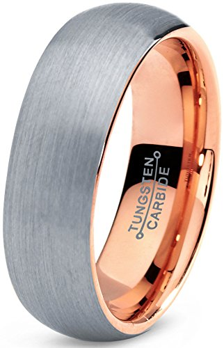 Tungsten Wedding Band Ring 7mm for Men Women Comfort Fit 18K Rose Gold Plated Domed Brushed Lifetime Guarantee Size 10