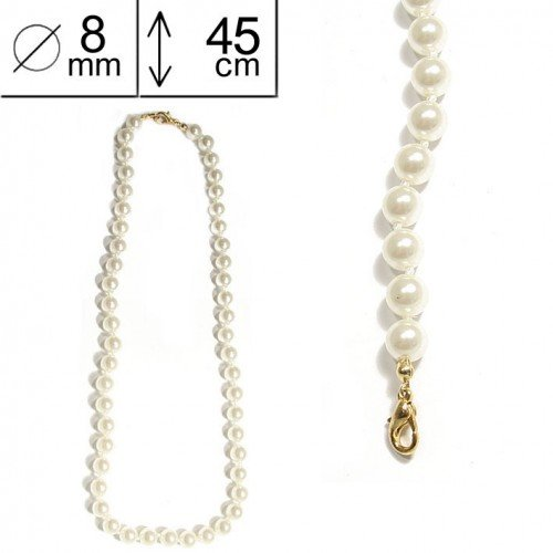 SG Paris Necklace 45 cm 8 mm Cream Pearl Ivoire Necklace Necklace Glass The Essential Women Pearl Addict The Essential Ball