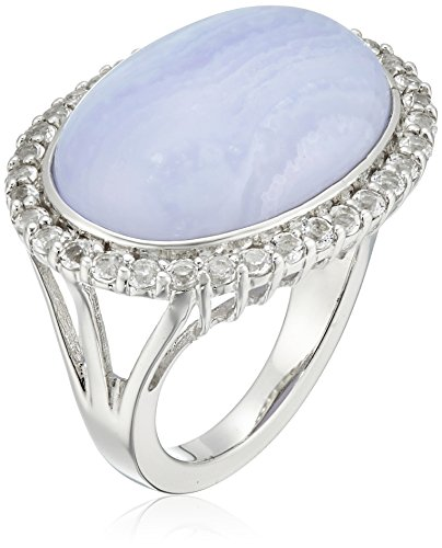 Sterling Silver Blue Lace Agate and White Topaz Accent Ring, Size 7