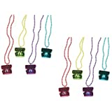 (24) New Year's Eve Light up NECKLACES ~ Plastic Beaded Fun Party Favors ~ Dance Party Table Decor ~ DJ Prize ~ HAPPY NEW YEAR ~