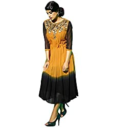 The Ethnic Chic Women's Mustard & Black Color Faux Georgette Kurti.