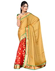 Sehgall Saree Indian Bollywood Designer Ethnic Professional Designer Material Faux Geogette Gold-Red