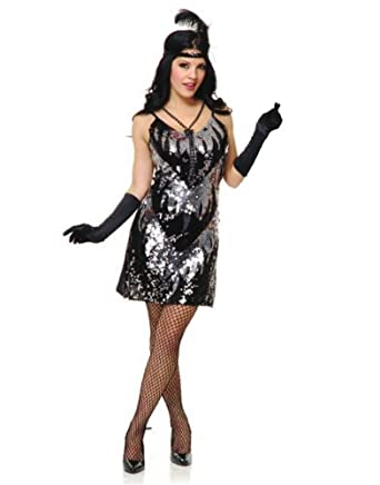 Adults Womens 20s Black Silver Flapper Girl Sequin Dress Costume Large 11-13