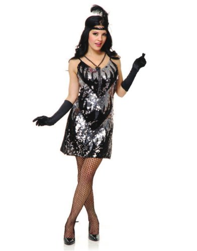Unknown Women's 20s Silver Flapper Girl Sequin Dress Costume