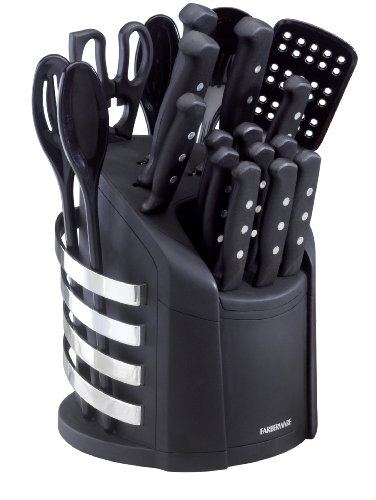 Farberware 17-Piece Stainless Steel Knife and Kitchen Tool Set with Storage Carousel, Black (Farberware Kitchen Set compare prices)