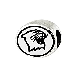Northwestern Wildcats Bead in Sterling Silver Officially licensed by the University