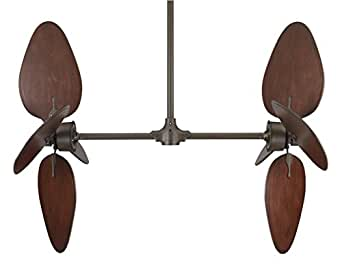 Fanimation FP240OB-B5080CP-EP36OB Palisade Oil-Rubbed Bronze Ceiling Fan with Cairo Purple Wide Oval Wood Blades