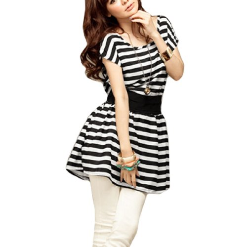 Women Scoop Neck Short Bat Sleeve Black White Striped Loose Mini Dress XS
