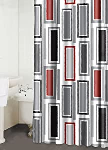 Rectangles Red Black White Fabric Shower Curtain