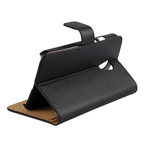 Generic Split Genuine Leather Wallet Stand Case for Motorola Moto G2 XT1063 / G2 Dual SIM - Black