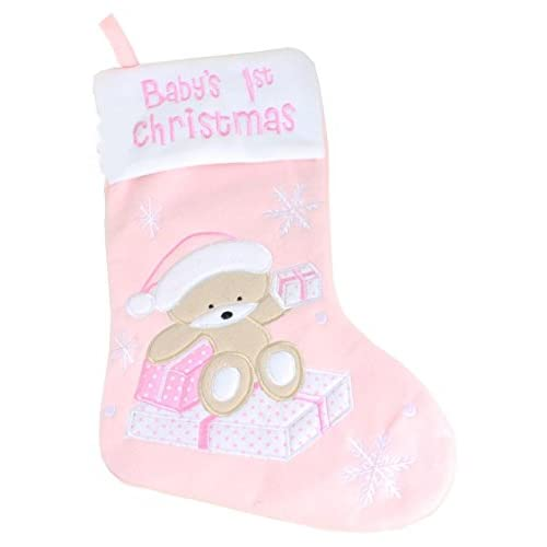 Deluxe Baby's 1st Christmas Stocking Girl Pink Cute Gift Present Xmas Decorations Bear Snowflake Kids Children...