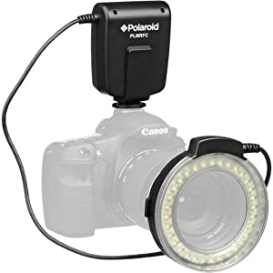 Polaroid LED Macro Ring Flash & Light For The Canon Digital EOS Rebel T4i (650D), T3 (1100D), T3i (600D), T1i (500D), T2i (550D), XSI (450D), XS (1000D), XTI (400D), XT (350D), 1D C, 6D, 60D, 60Da, 50D, 40D, 30D, 20D, 10D, 5D, 1D X, 1D, 5D Mark 2, 5D Mark 3, 7D Digital SLR Cameras (Will Fit 52,55,58,62,67,72,77mm Lenses)