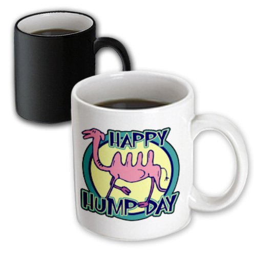 mug_159498_3 Dooni Designs Random Humor Designs - Funny Happy Hump Day Pink Camel Cartoon Design - Mugs - 11oz Magic Transforming Mug
