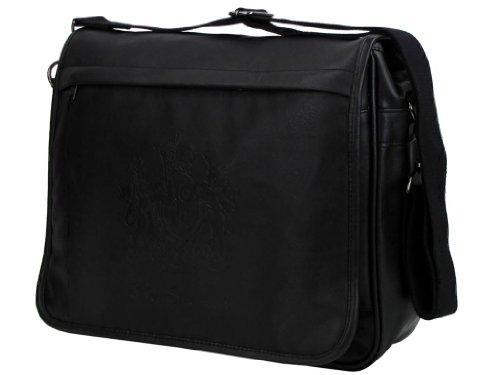 Mens Ben Sherman Messenger/ Shoulder Record Bag Large Crest Black