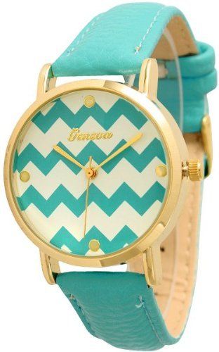 Women's Geneva Chevron Style Leather Watch - Turquoise gnova platinum top genuine leather bracelet watch women charm leaf butterfly ethnic geneva style urban girl fashion dama a334