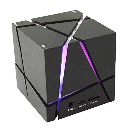 COOSA Cube Design Colorful LED Mini Portable Enceinte Bluetooth Musique Bluetooth 4.0 sans fil avec haut-parleur stéréo Microphone main-libre Compatible avec l'iPhone. iPad.Samsung.Tablets PC - Portable et l'autre telephone Android (Noir)