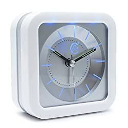 JCC Loud Melody Square Non Ticking Silent Quartz Analog Alarm Clock with Snooze and Night Light, White / Silver