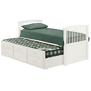 3FT Single Cabin Bed - Kids Bed Frame - Pull Out Bed - 3 Drawers - Sprung Slatted Base - Solid Pine - Stone White Finish