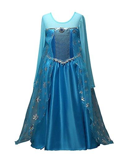 Das beste Eiskönigin Prinzessin Kostüm Kinder Glanz Kleid Mädchen Weihnachten Verkleidung Karneval Party Halloween Fest thumbnail